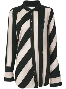 striped raw-edged shirt BLACK