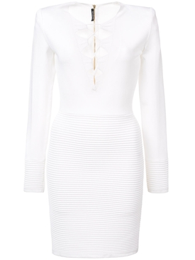 ribbed panel dress WHITE