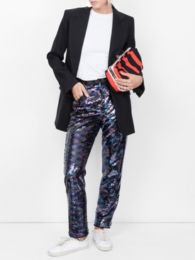 sequin embellished trousers BLUE
