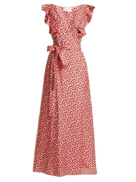 Wedding Guest Domino-print cotton dress RED