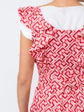 La Doublej - Wedding Guest Domino-print Cotton Dress Red - Women