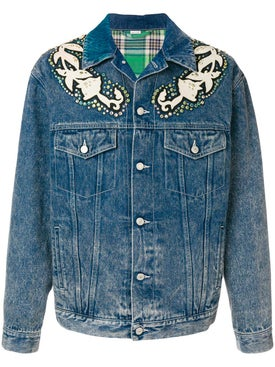 Gucci - Denim Jacket With Floral Applique - Men