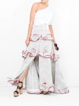 rosie assoulin x the webster twisted ruffle skirt