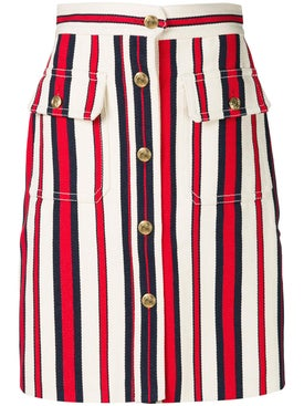 Gucci - A-line Striped Denim Skirt - Women