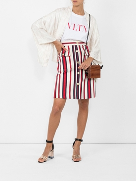 A-line striped denim skirt
