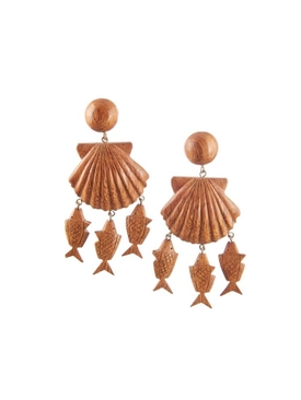 Delphine wood chram drop earrings