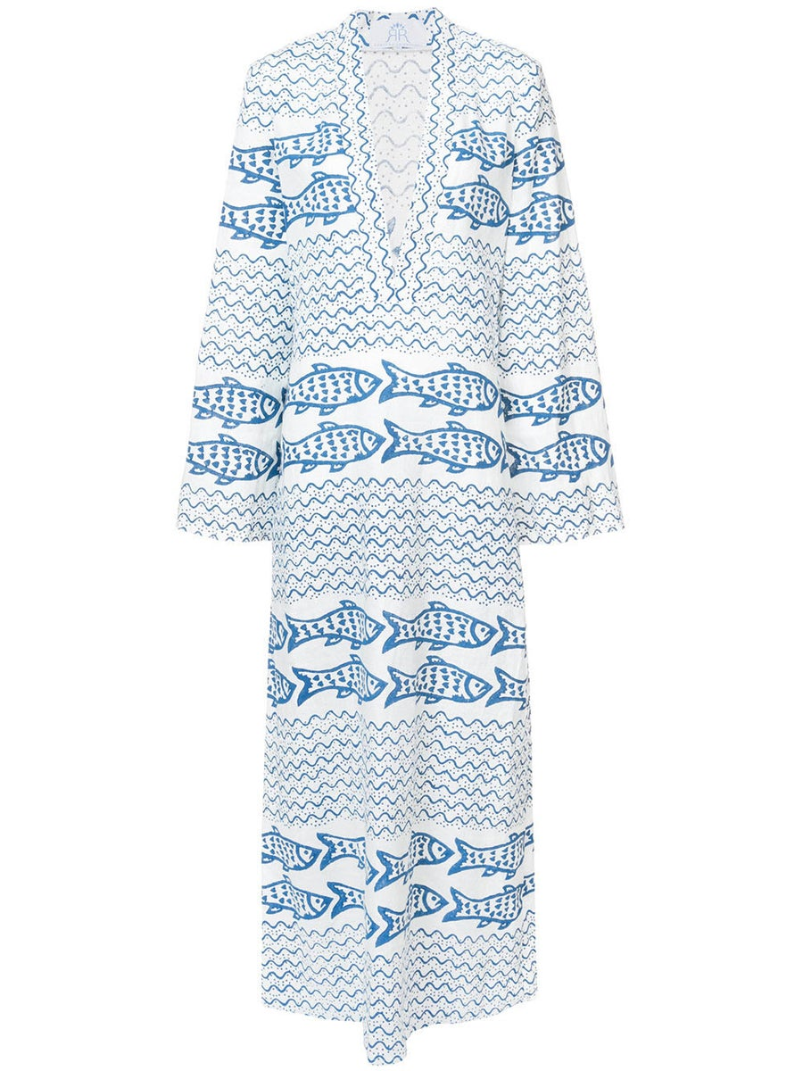 Rebecca De Ravenel FISH PRINT MAXI DRESS WHITE