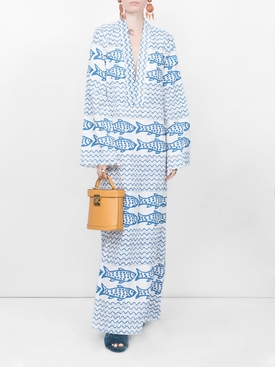 fish print maxi dress WHITE