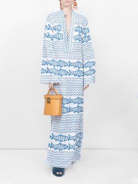 Rebecca De Ravenel - Fish Print Maxi Dress - Women