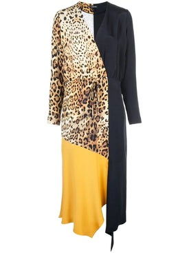Cushnie - Color Block And Leopard Print Dress - Mid-length