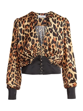 Leopard Print Long-sleeve Blouse