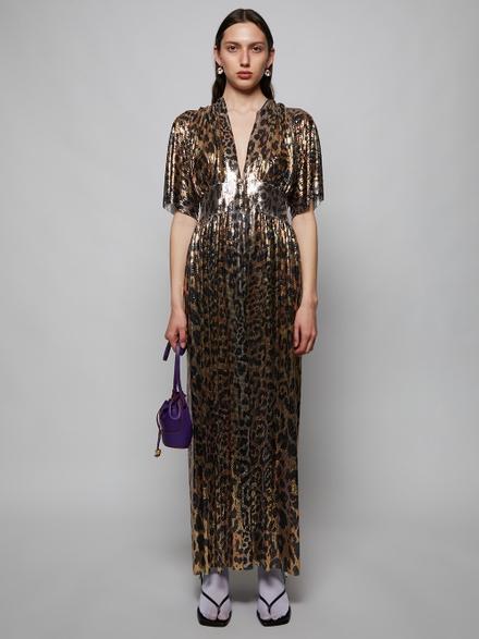 Paco Rabanne Leopard Print Chainmail Kimono Robe