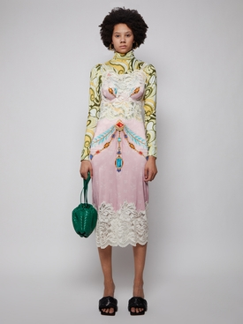 Lace and Satin Jewel Print Midi Dress, Pink