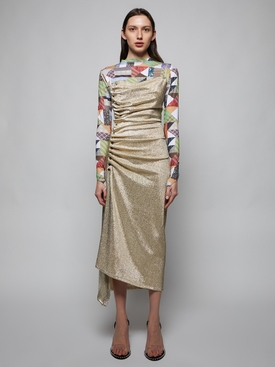 Metallic Gold Gathered Midi Dress