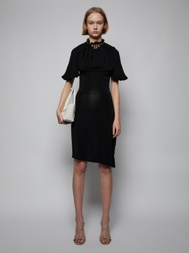 Beaded Collar Jersey Midi Dress, Black