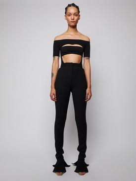segmented off-shoulder bodysuit black