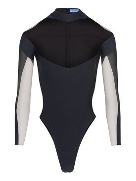 illusion neckline color-block bodysuit BLACK AND NUDE