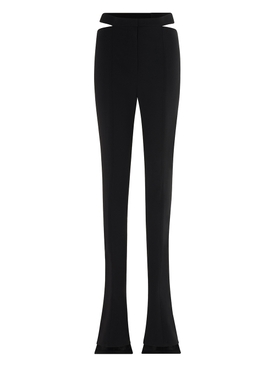 slim-fit cut-out flared trousers black