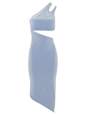 asymmetric knit cut-out midi dress pale blue