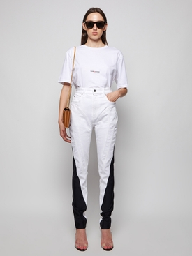 spiral skinny-fit denim jeans pale blue and black