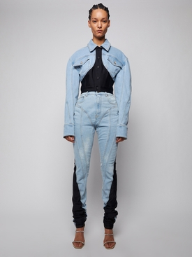 spiral skinny-fit denim jeans black and white Pale Blue and Black