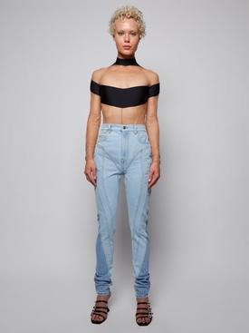 spiral skinny-fit denim jeans pale blue