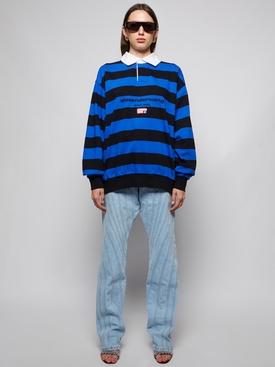 wide-leg spiral denim jeans pale blue