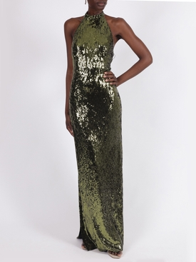 Olive green sequin Oceana gown