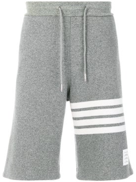 Thom Browne - Engineered 4-bar Stripe Cashmere Shell Sweat Shorts Light Grey - Men