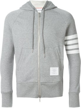 Thom Browne - Classic Full Zip Hoodie With Engineered 4-bar In Classic Loop Back Light Grey - Men