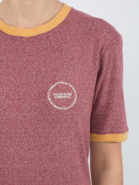 contrast trim T-shirt RED