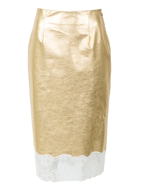gold plonge leather skirt