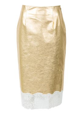 Calvin Klein 205w39nyc - Gold Plonge Leather Skirt - Women