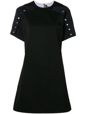 silver button shift dress