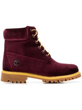 X Timberland velvet boots BORDEAUX