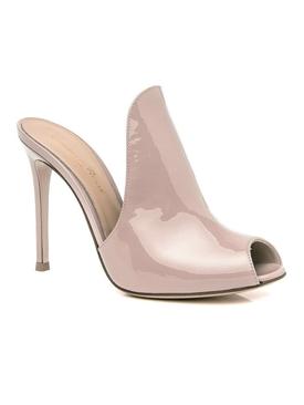 patent peep toe mule