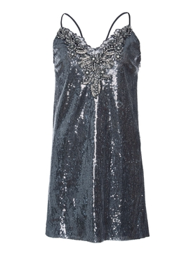 Metallic Sequin Mini Dress