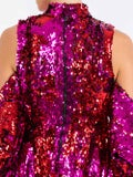 Halpern - Sequin Embellishe Cold-shoulder Mini Dress - Women