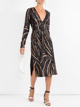 Halpern - Long-sleeve V-neck Sequin Slit Midi Dress - Women