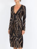 Halpern - Long-sleeve V-neck Sequin Slit Midi Dress - Women