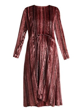 Sies Marjan - Maude Metallic Striped Velvet Dress - Women