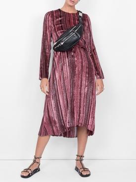 maude metallic striped velvet dress PINK
