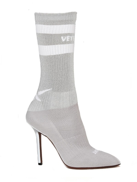 grey reflective sock pumps