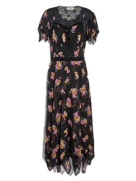 Coach - Embellished Forest Floral Print Dress Black - Women