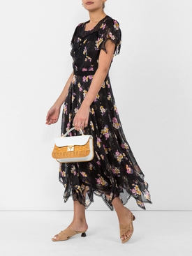 embellished forest floral print dress BLACK
