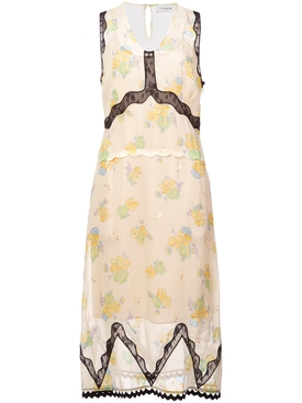 forest floral print sleeveless dress YELLOW