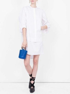 striped poplin dress WHITE