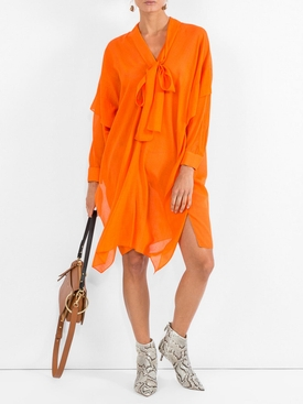 Woven Etamine Dress ORANGE