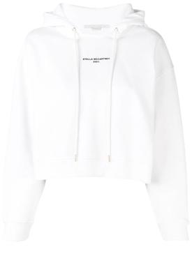 cropped logo printed hoodie WHITE