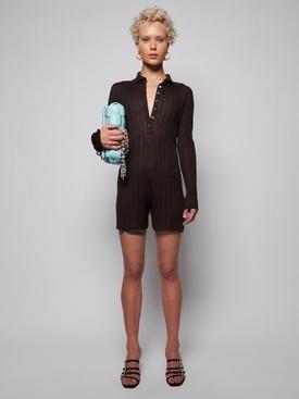 Knit Long-sleeve Bodysuit, Brown